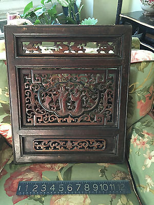 Antique Chinese Wood Carvings Cabinet Door with hangers attached wall hanging