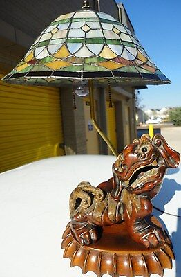 Vintage Chinese Asian wooden  Foo Dog- Lion  Brass Lamp w Tiffany style shade