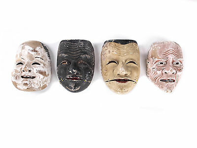 Japanese Antique Noh Theatre Mask Collective from Edo Period Mingei