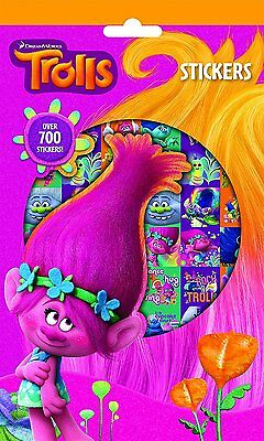 TROLLS Pack of over 700 Stickers PARTY 9 STICKER SHEETS FILM PARTY CRAFT