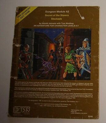 Advanced Dungeons and Dragons AD&D, TSR, Secret of the Slavers Stockade A1