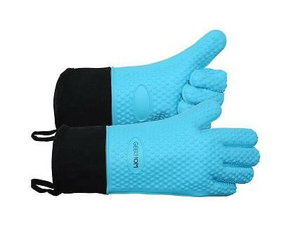 Blue Oven Gloves, Kitchen Cooking Heat Resistant Waterproof BBQ Grilling Baking