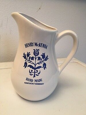 Henry McKenna Hand Made Kentucky Bourbon Whiskey Pitcher Blue/white Country Jug