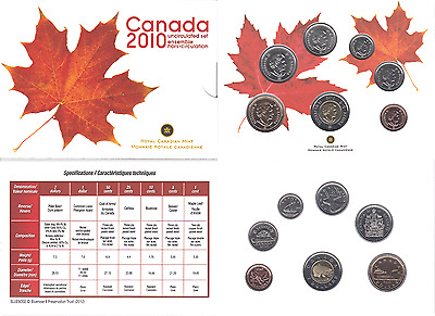 2010 Canada Mint Set Uncirculated Royal Canadian Mint Original Package