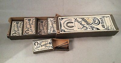 Vintage Neuss Bros Germany Carton Of 9 Boxes Of Jet Headed Superfine Pins