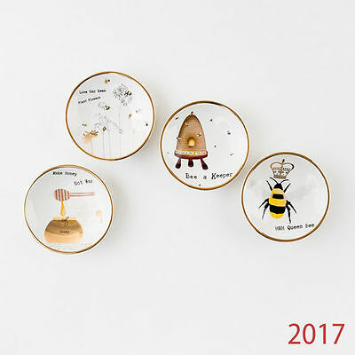 HY0180 Busy Bees Dipping Bowls Plate s/4 Beekeppers Kitchen Housewares Dishware