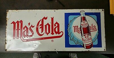 Vintage Ma's Cola Tin Sign 28X12 Rare (No Relisting On This Sign)