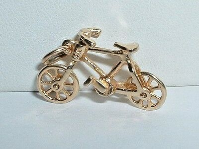 Vintage 14K Yellow Gold 3D Moveable Bicycle Bike Pendant Charm