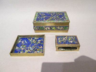 ANTIQUE Chinese Enamel 3 Piece Cigarette Smoking Set Box Ash Tray Match Holder
