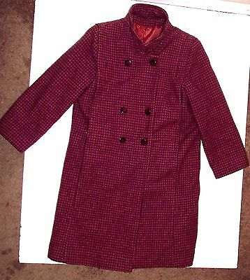 VTG Tailored by Rothschild Houndtooth Size 14 Wool Dress Coat  Pre-Owned