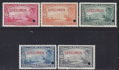 COSTA RICA CITY of SAN RAMÓN, MENA S239-S243 OVERPRINT SPECIMEN w/HOLE MNH 1944