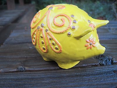 Vintage Fitz and Floyd Pig Paperweight Paper Mache Heavy Japan Yellow Figurine