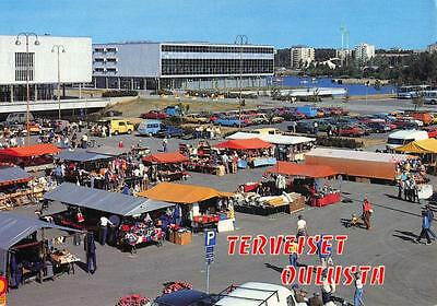 Vintage c1970's Postcard OULU ULEABORG Market Place Suomi FINLAND Classic Cars