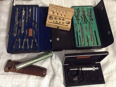 Antique lot of mixed architect engineer drawing tools Plus More Scope