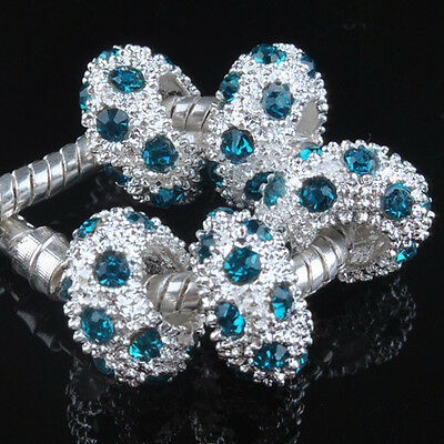 5pcs Blue Rhinestone Big Hole Charms Spacer beads Fits European Bracelet