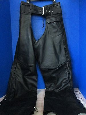 MOB ~Black GENUINE Hand Tooled LEATHER MOTORCYCLE Braided CHAPS~Adult XL