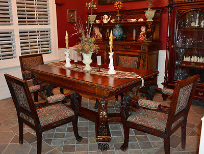 Carved Wood Antique Dining Set with Sideboards - Possibly RJ Horner - 9 Pieces