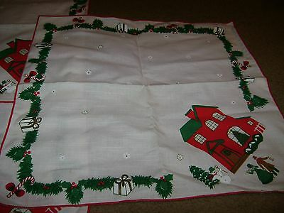 Christmas Fabric Table Napkins..Snowman/House/People/Gifts...Set of 3