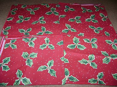 Christmas Fabric Table Napkins...Avon...Red w/Holly...Set of 4