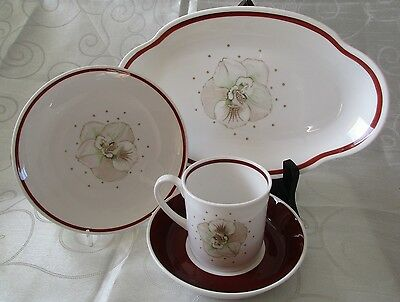 Susie Cooper Orchid Trio and Cake Plate