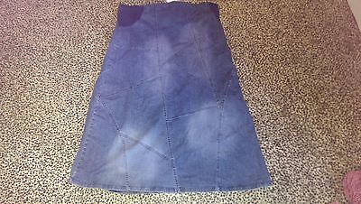 Mothercare Maternity Calf Length Denim Skirt Size Uk 18 New With Tags