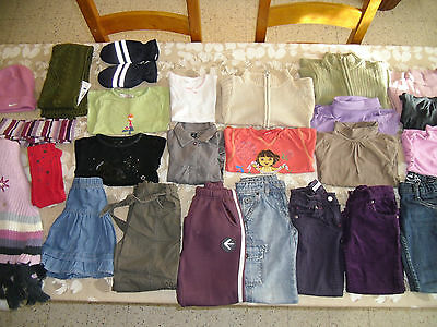Lot de vêtements fille 4 ans(26 pcs)pantalon robe jupe gilet haut ...