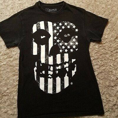 Misfits Unisex SMALL Flag Fiend Skull T-Shirt OFFICIAL 100% Cotton Black White