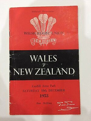 Wales v New Zealand 1953 Rugby Union Programme