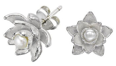 DOWER & HALL Orchid Sterling Silver Carved Freshwater Pearl Stud Earrings BNIB