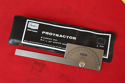 Vtg CRAFTSMAN Stainless Steel Protractor 9-4029 Machinist Tool 1031
