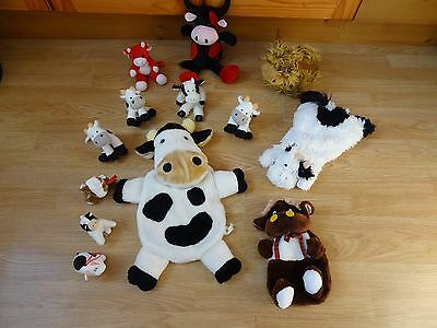 Bundle Of 13 Large & Small Plush Soft COWS 20 ins High max