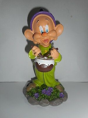 New Disney Snow White and Seven Dwarfs Dopey Playing Drums Garden Statue Gnome