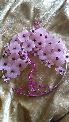 Beautiful hand made pink flowers/ pink wire and Garnet gems tree of life picture