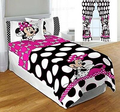 8 Pc Disney Minnie Mouse Dot Twin Single Comforter Sheets Curtains Bedding Set