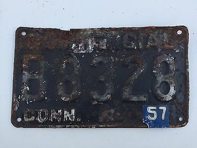 1957 Connecticut Commercial License Plate with removable metal tag
