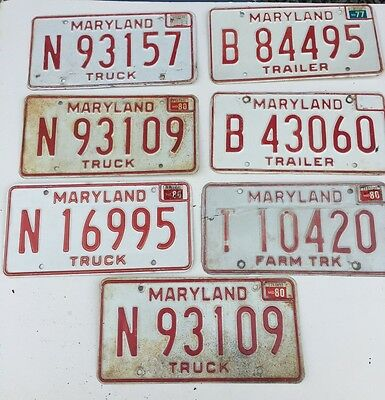 7 Maryland Truck/Trailer License Plates 1970's-80's