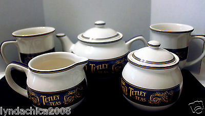 Tetley Teas Collectible Tea Pot Creamer Sugar Bowl Set w/ 2 Mugs