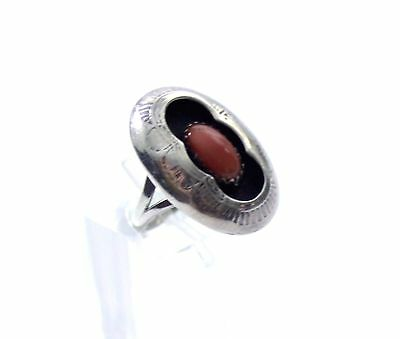 Vintage Sterling Silver Coral Ring Shadow Box Size 5 Southwestern