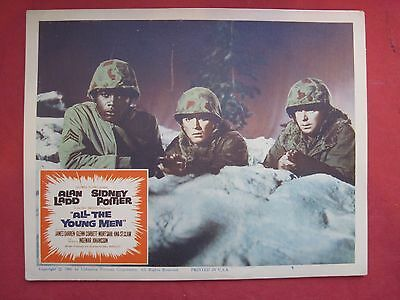 2 lobby cards -ALL THE YOUNG MEN 1960 ALAN LADD-SIDNEY POITIER-JAMES DARREN