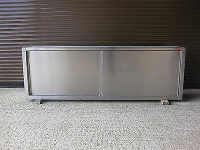 Stainless Steel Wall Cupboard with Sliding Doors and Internal Shelf