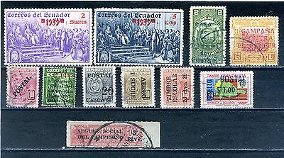 Ecuador selection of 11  overprinted stamps  Mint & Used
