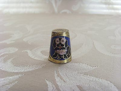 Pretty Cloisonne Enamel With Gold Metal Puppy Dog Thimble
