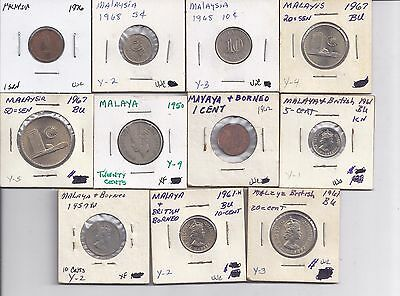 11 Coin Lot from Malaysia & Malaya/British Borneo - Older Collection