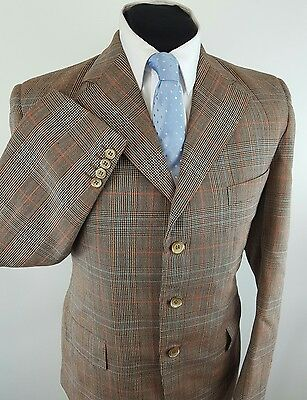 Vintage Bespoke Tailored Brown Check Tweed Suit Size 38 Short  W32 L29