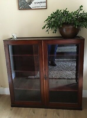 Antique Edwardian mahogany and oak glass fronted display cabinet bookcase Office
