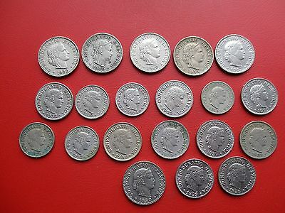 20 old Swiss coins 1883 to 1960 5/10/20 Rappen (ref 124)