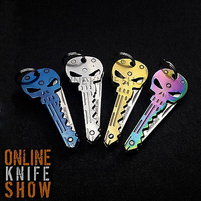 TACTICAL EDC POCKET KEYCHAINS Folding Knife 4PCS Pocket Skull Blade PUNISHER NEW