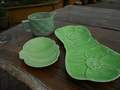Vintage Shorter Green Jug and Dish and 1 other Vintage Green Dish