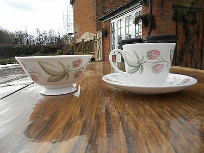 Vintage Susie Cooper Wedgwood China Wild Strawberry Cup, Saucer and Sugar Bowl