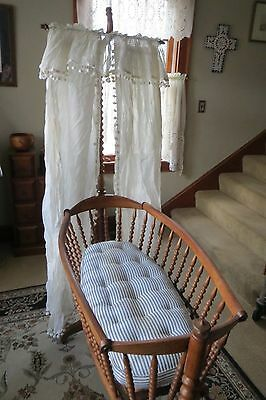 Vintage Wooden Rocking Baby Infant Crib Cradle Basinet Bed W/ Stand, Mattress, +